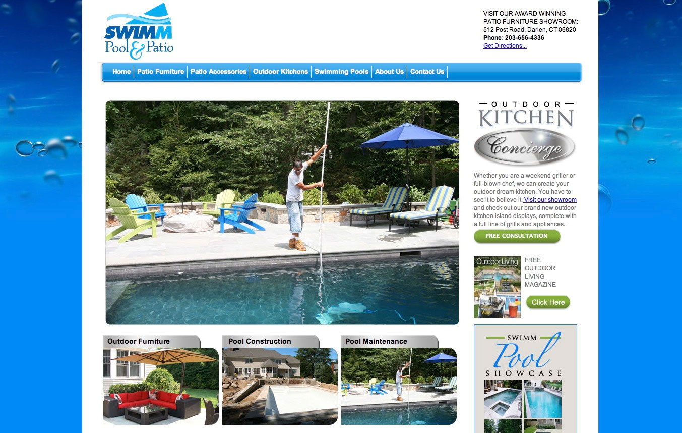 Swimm pool patio mg media advertising branding for Pool design website